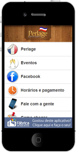 App do restaurante Perlage