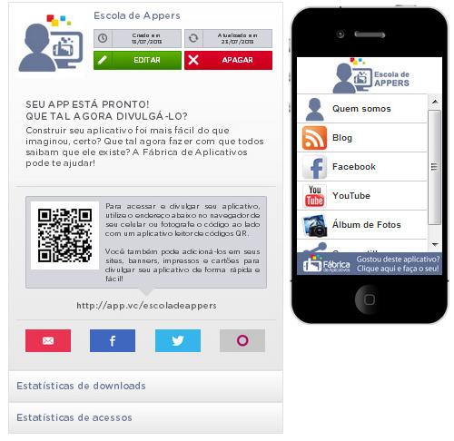 Tela de gerenciamento app da Fábrica de Aplicativos