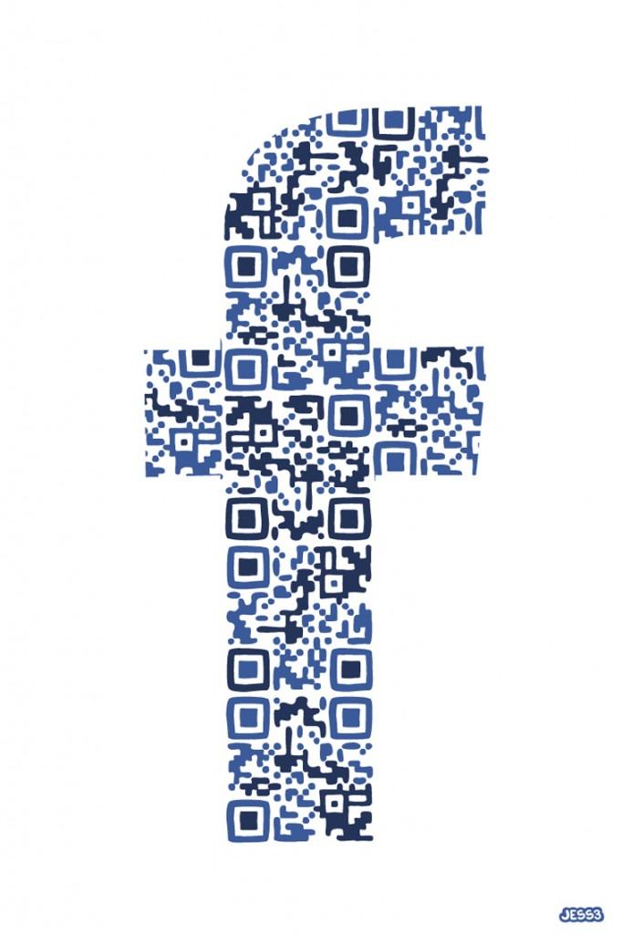 QR Code em forma de F do Facebook