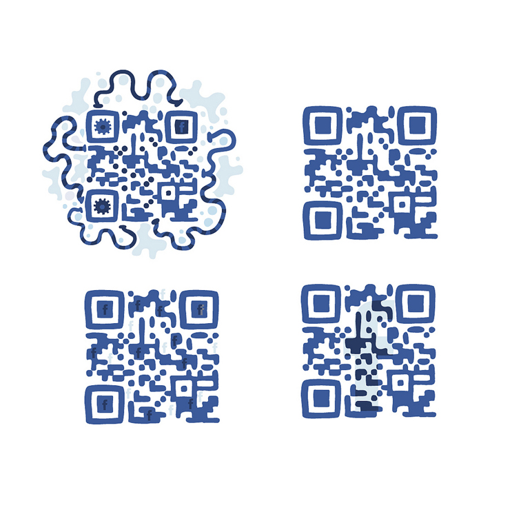 QR Codes do Facebook desenhados artisticamente