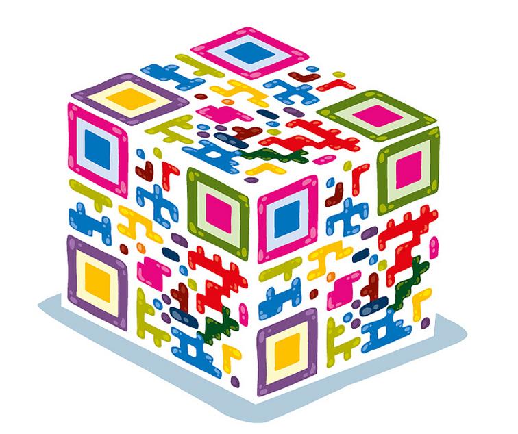 QR Code em forma de cubo