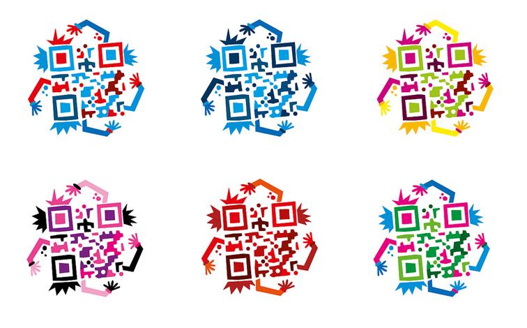 6 QR Codes coloridos