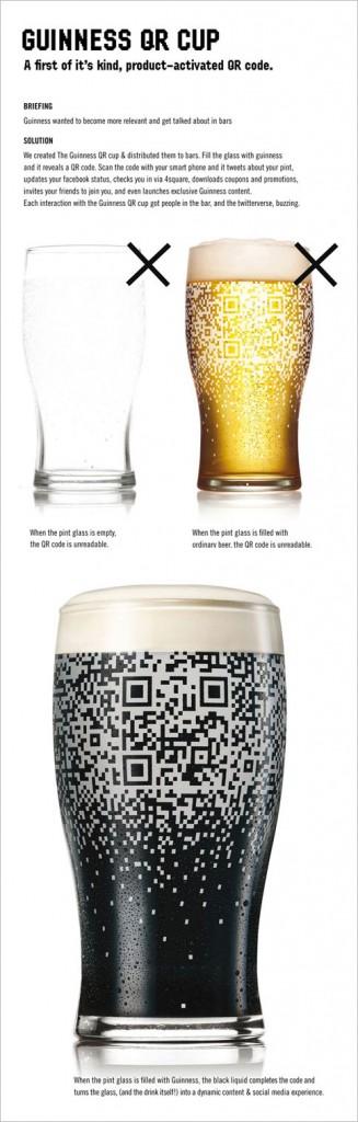 QR Code só é visível quando o copo está cheio de cerveja escura