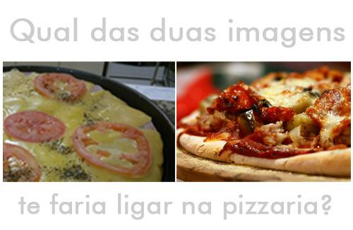 Uma pizza feia e em baixa resolução comparada com uma pizza bem feita, em alta resolução